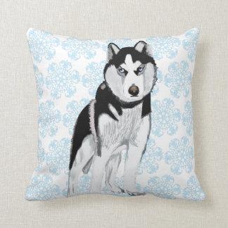 Husky against Snow Flakes Throw Pillow