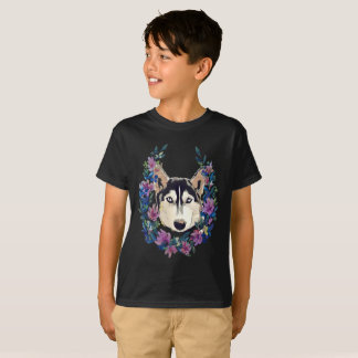 Husky and floral wreath T-Shirt