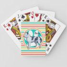 Husky; Bright Rainbow Stripes Playing Cards