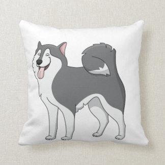 husky cartoon 2 throw pillow
