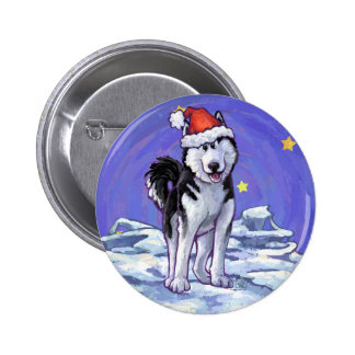 Husky Christmas 2 Inch Round Button