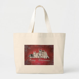 Husky christmas large tote bag