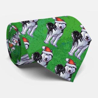Husky Christmas On green Tie