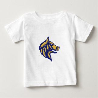 Husky Dog Head Woodcut Baby T-Shirt