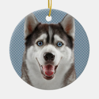 Husky Dog Monogram Photograph Ceramic Ornament