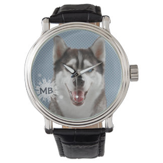 Husky Dog Monogram Photograph Watch