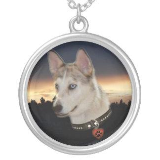 Husky Dog Sunset Round Pendant Necklace