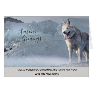 Husky Dog Winter Snow Xmas Photo Personalized Card