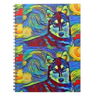 Husky Duo  Colorful Pepper  Spiral Notebook