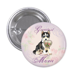 Husky Heart Mom 1 Inch Round Button