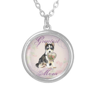 Husky Heart Mom Silver Plated Necklace