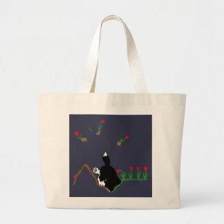 Husky in Flowerbed Large Tote Bag