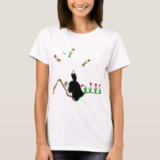 Husky in Flowerbed T-Shirt