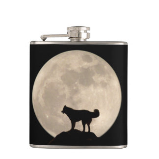 Husky Moon Flask Custom Siberian Husky Drink Flask