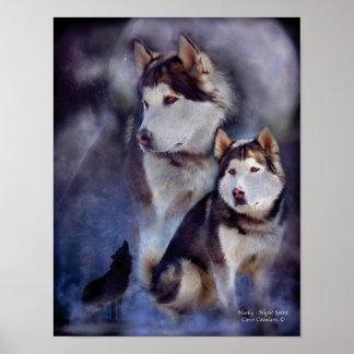 Husky -Night Spirit Art Poster/Print Poster