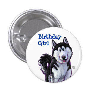 Husky Party Center 1 Inch Round Button