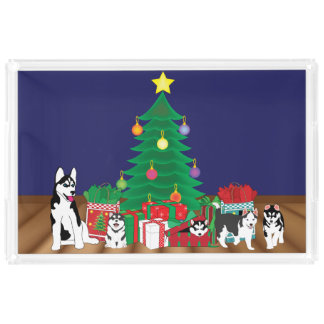 Husky Playing Under the Christmas Tree Acrylic Tray