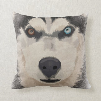 Husky portrait throw pillow
