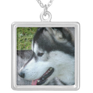 Husky Profile  Sterling Silver Necklace