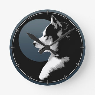 Husky Pup Clock Gifts Decor Sled Dog Wall Clock