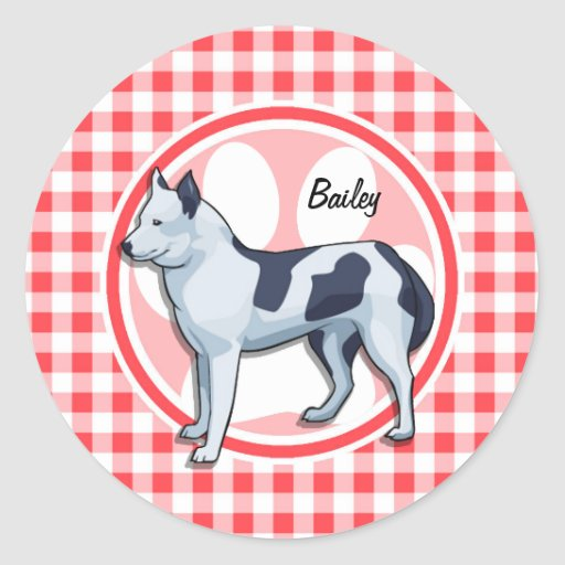 Husky; Red and White Gingham Round Stickers