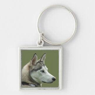 Husky Siberian dog beautiful photo keychain, gift Silver-Colored Square Keychain