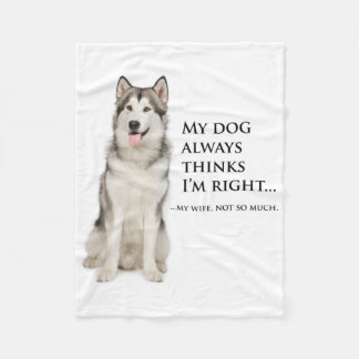 Husky vs. Wife Fleece Blanket