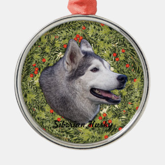 Husky Wreath Metal Ornament