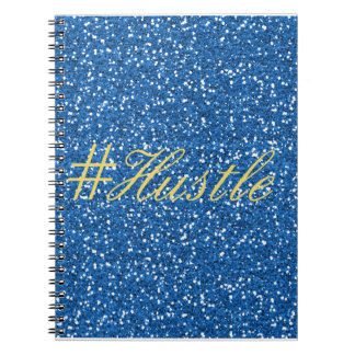 Hustle Faux Blue Glitter Design Notebook