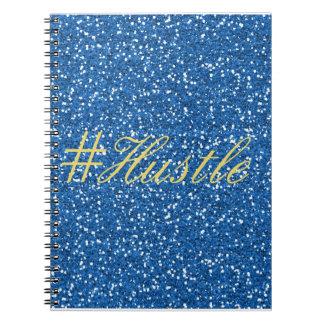 Hustle Faux Blue Glitter Design Spiral Note Book