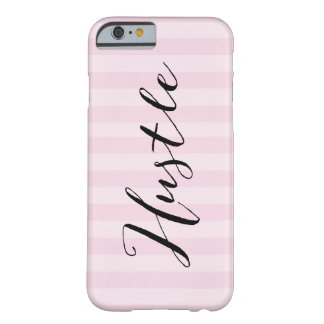 """Hustle"" Pink striped Iphone 6 Case"