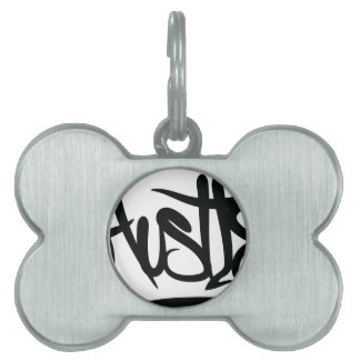hustle typography pet ID tags