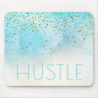 Hustle Watercolor   Modern Typography Motivational Mouse Pad