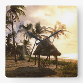Hut On Beach Square Wall Clock
