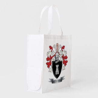 Hutchins Family Crest Coat of Arms Market Totes