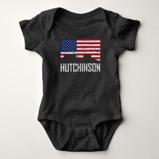Hutchinson Kansas Skyline American Flag Distressed Baby Bodysuit