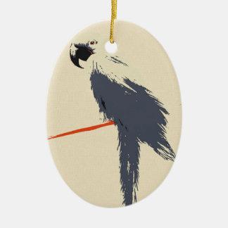 Hyacinth Macaw Alt Art Ceramic Oval Ornament