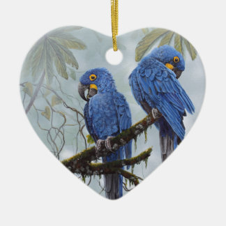 Hyacinth Macaw just for your special gifts Ceramic Heart Ornament