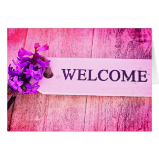 Hyacinth Purple Wood Sign Spring Floral Welcome Card