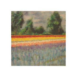 Hyacinths and Tulips Flower Landscape Triptych 1/3 Wood Canvases