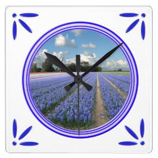 Hyacinths Flowers Holland Delft-Blue-Tile-Look Wallclock