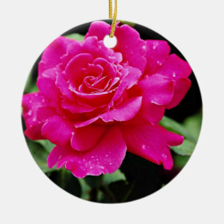 Hybrid Tea Rose 'Pink Peace' White flowers Ceramic Ornament