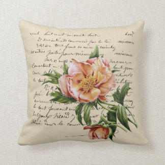 Hybrid Tree Peony Redouté Illustration Throw Pillow