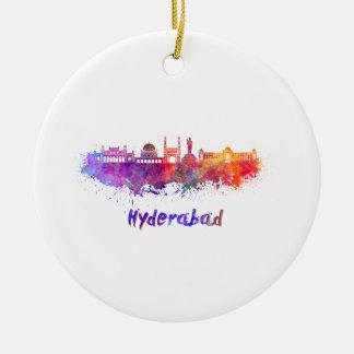 Hyderabad skyline in watercolor ceramic ornament