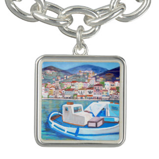 Hydra Island -Square Charm Bracelet, Silver Plated
