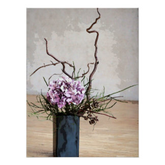 Hydrangea and Wood Vase Watercolor Poster
