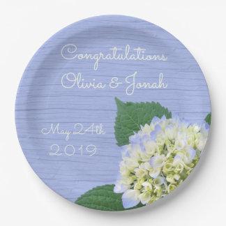 Hydrangea Bloom Blue Wood Grain Wedding 9 Inch Paper Plate