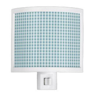 Hydrangea Blue Gingham Check Plaid Pattern Night Light