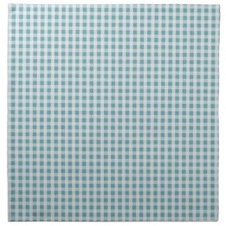 Hydrangea Blue Gingham Check Plaid Pattern Printed Napkin
