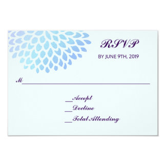 Hydrangea Blue RSVP Wedding Response Reply 3.5x5 Card